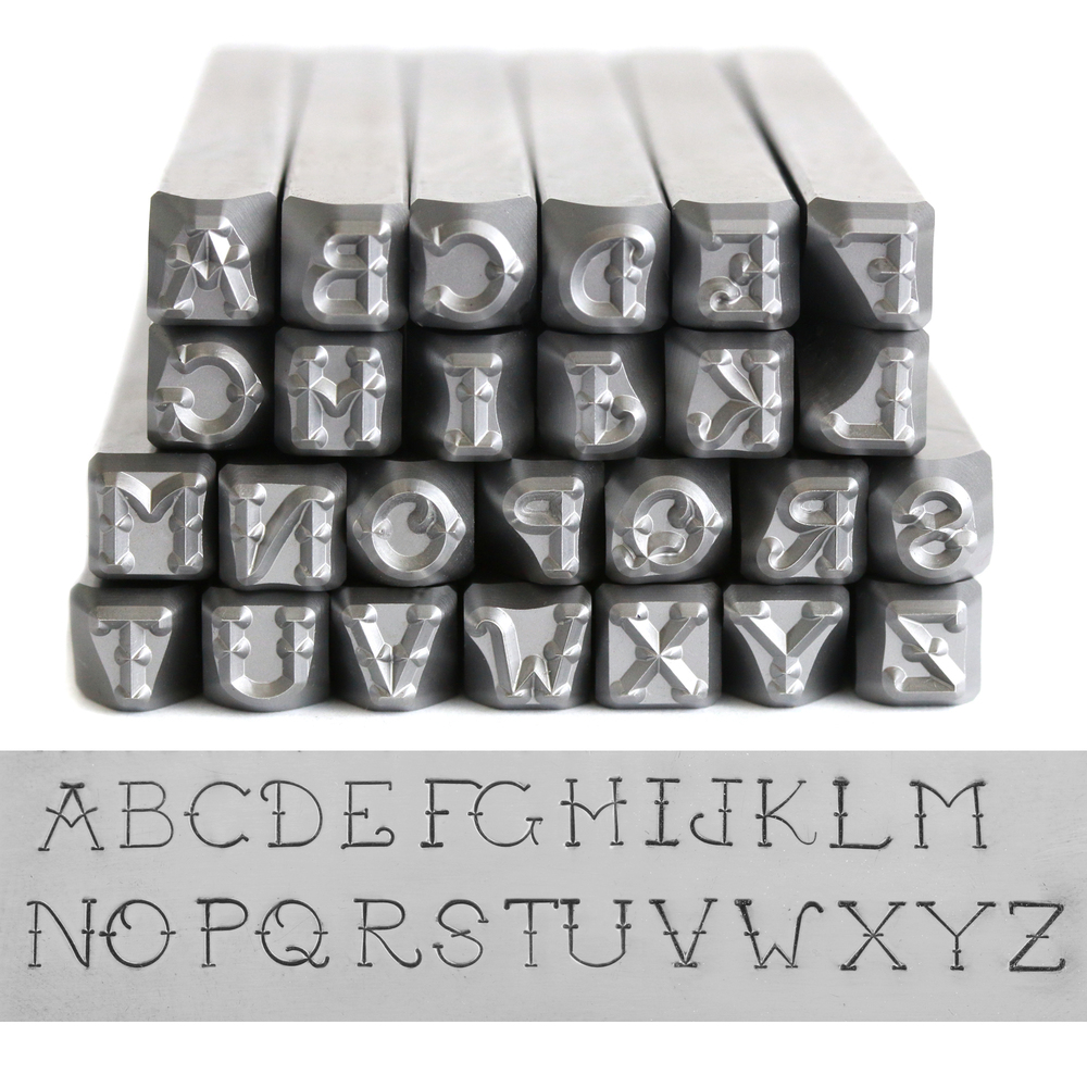 Metal Stamping Tools Beaducation Exact Series, Vintage Tattoo Uppercase Letter Stamp Set 4mm, By Stamp Yours, Tapered Down Shanks
