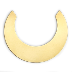 "Metal Stamping Blanks Brass Straight Edge Crescent Moon Blank, 48.6mm (1.91"") x 40mm (1.57""), 24g, Pk of 5"