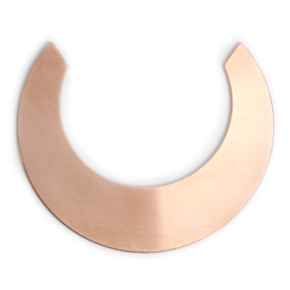 "Metal Stamping Blanks Copper Straight Edge Crescent Moon Blank, 48.6mm (1.91"") x 40mm (1.57""), 24g, Pack of 5"