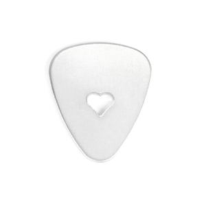 "Metal Stamping Blanks Aluminum Guitar Pick with Heart Cutout, 30mm (1.2"") x 25.2mm (1""), 14g, Pk of 5"