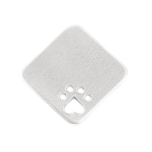 "Metal Stamping Blanks Aluminum Square Rounded Corners and Heart Paw Cutout, 25mm (1""), 14g, Pk of 5"