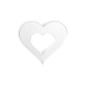 "Metal Stamping Blanks Aluminum Heart Washer with Center Heart, 25mm (1"") OD x 13mm (.5"") ID ,14g, Pk of 5"