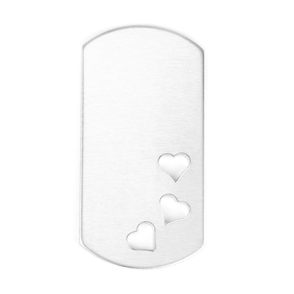 "Metal Stamping Blanks Aluminum Dog Tag with 3 Hearts Cutout, 51mm (2"") x 25mm (1""), 14g, Pack of 5"