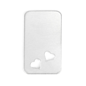 "Metal Stamping Blanks Aluminum Rectangle w/ Rounded Corners and Two Heart Cutouts, 38mm (1.5"") x 22.4mm (.88""), 14g Pack of 5"