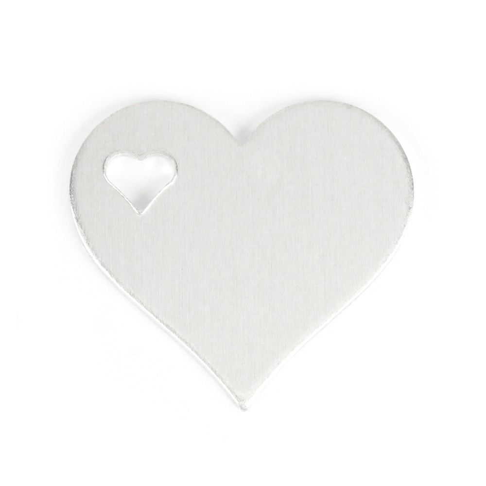 "Metal Stamping Blanks Aluminum Heart with Top Left Heart Cutout, 32mm (1.25"") x 28mm (1.1""), 14g, Pack of 5"