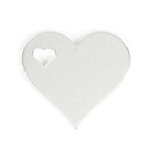 "Metal Stamping Blanks Aluminum Heart with Top Left Heart Cutout, 32mm (1.25"") x 28mm (1.1""), 14g, Pk of 5"