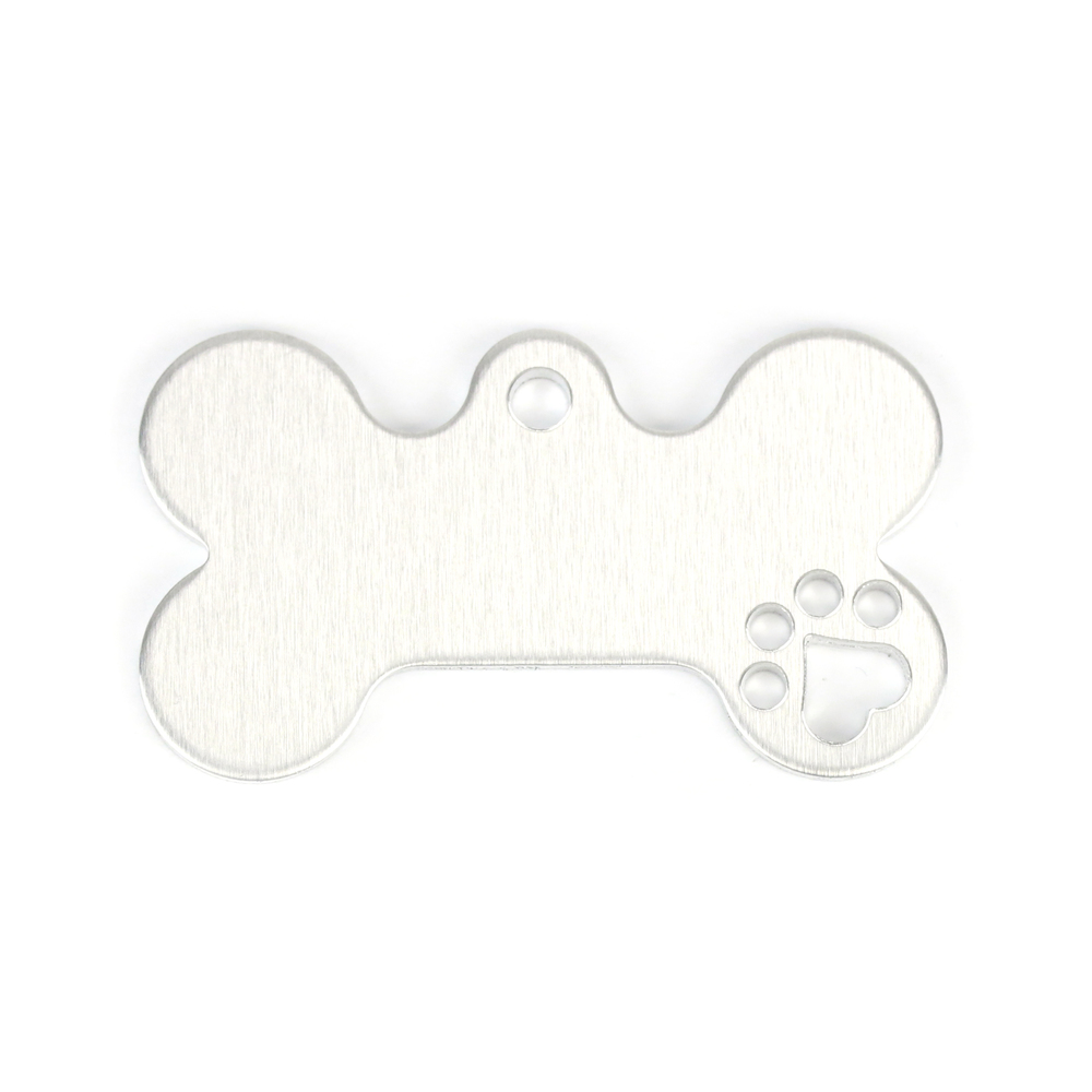 "Metal Stamping Blanks Aluminum Dog Bone with Heart Paw Cutout and Top Loop, 43mm (1.7"") x 25mm (1""), 14g, Pack of 5"