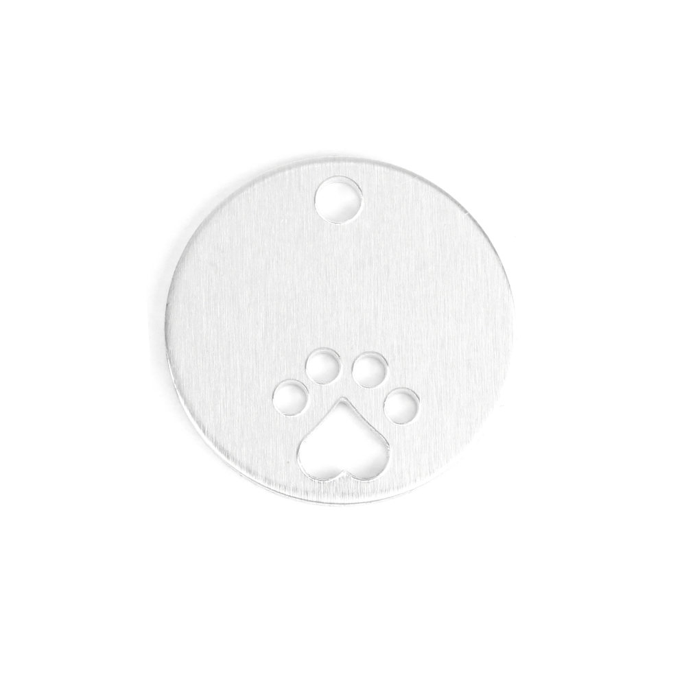"Metal Stamping Blanks Aluminum Circle, Disc, Round with Heart Paw Cutout and Hole, 25mm (1""), 14g, Pack of 5"