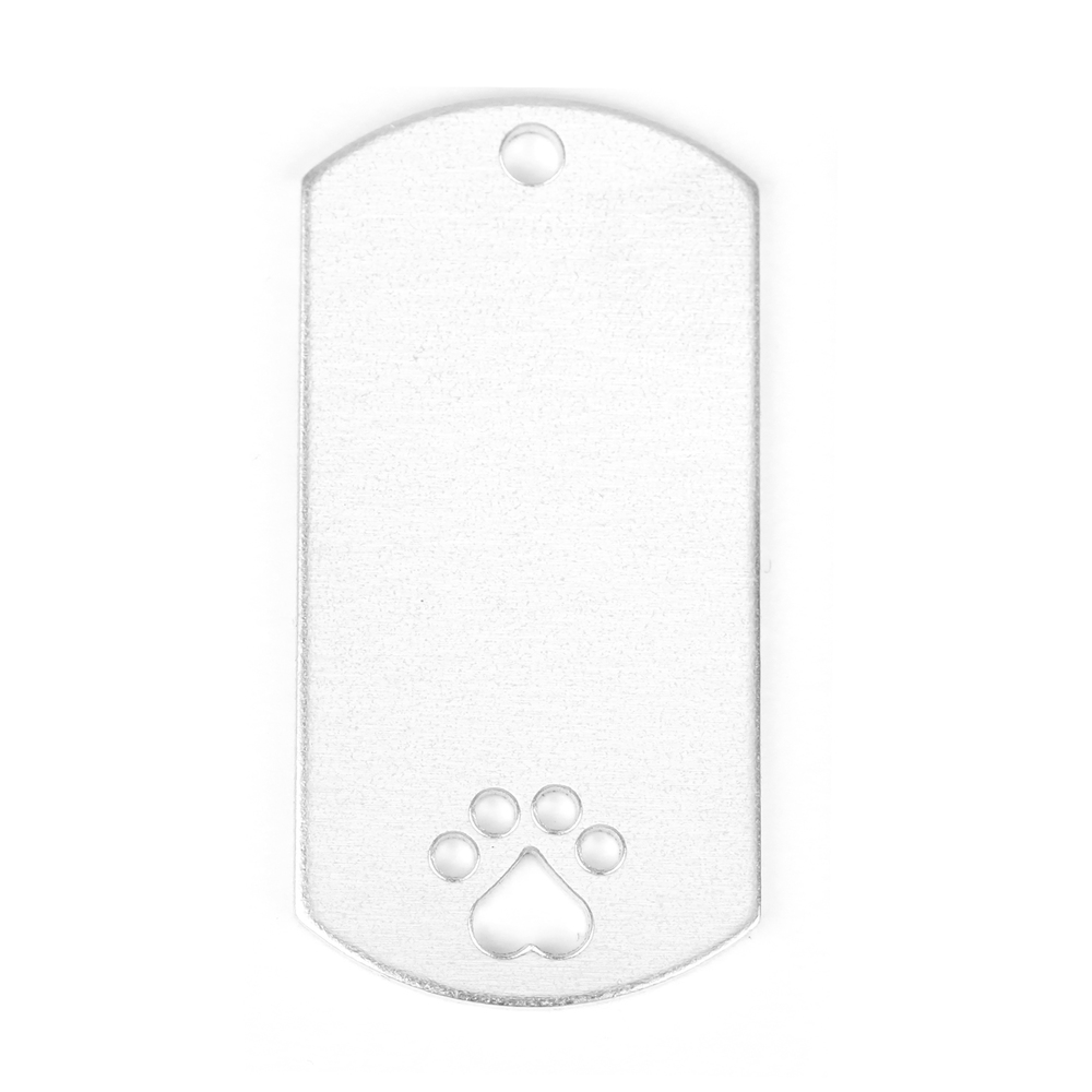 "Metal Stamping Blanks Aluminum Dog Tag with Heart Paw Cutout and Hole, 51mm (2"") x 25mm (1""), 14g, Pk of 5"