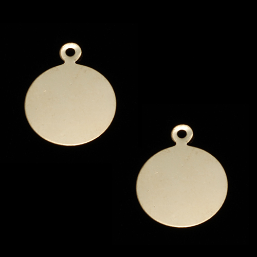 "Metal Stamping Blanks Gold Filled Circle with Top Loop, 12mm (.47""), 24g"