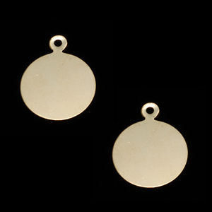 "Metal Stamping Blanks Gold Filled Circle with Top Loop 1/2"" (12mm), 24g"