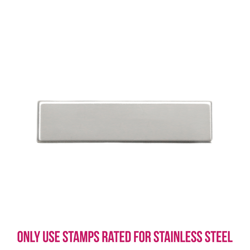 "Metal Stamping Blanks Stainless Steel Rectangle Bar, 36mm (1.41"") x 8.9mm (.35""), 22g, Pack of 5"