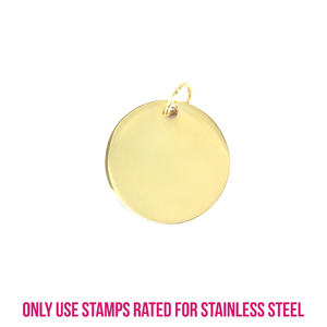 "Metal Stamping Blanks Gold Plated Stainless Steel Round, Disc, Circle with Hole, 18.8mm ( .74""), 18g"