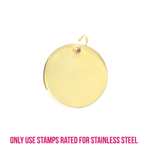"Metal Stamping Blanks Gold Plated Stainless Steel Round, Disc, Circle with Hole, 21.9mm (.86""), 18g"