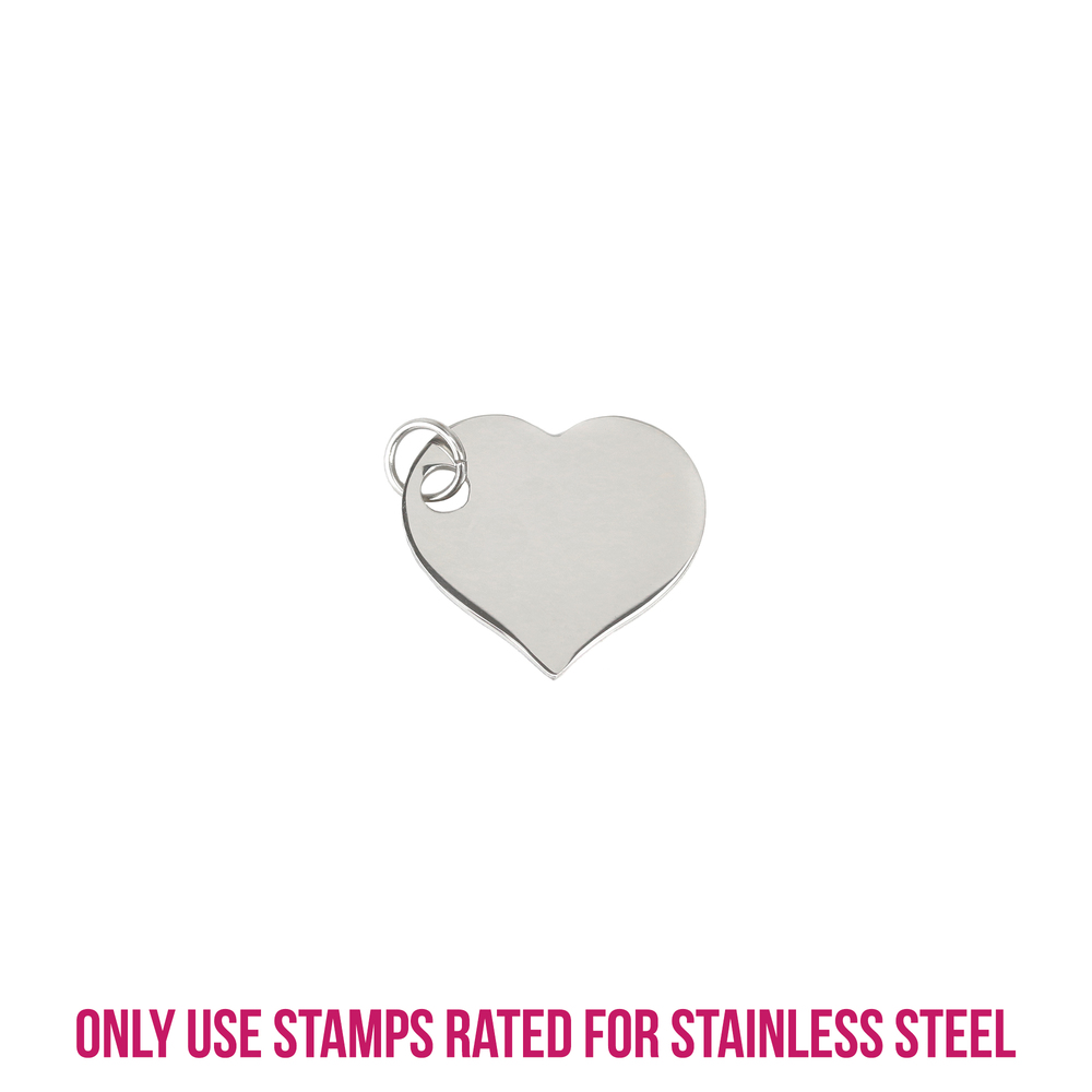 "Metal Stamping Blanks Stainless Steel Heart with Side Hole, 20mm (.79"") x 18mm (.71""), 18g, Pack of 5"