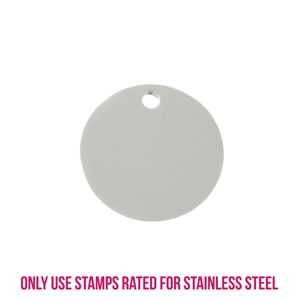 "Metal Stamping Blanks Stainless Steel Round, Disc, Circle with Hole, 25mm (1""), 14g, Pack of 5"