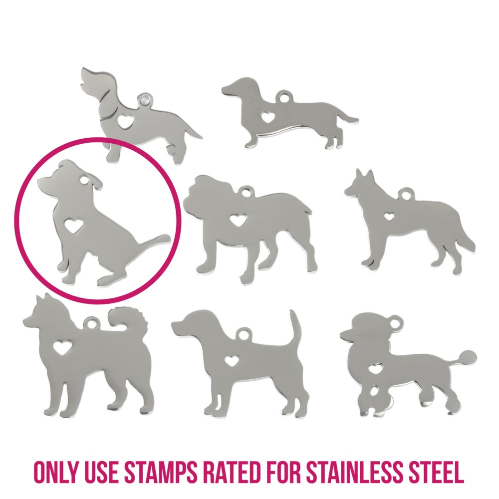 "Metal Stamping Blanks Stainless Steel Pit Bull Dog with Heart Cutout, 31mm (1.22"") x 30mm (1.2""), 14g"