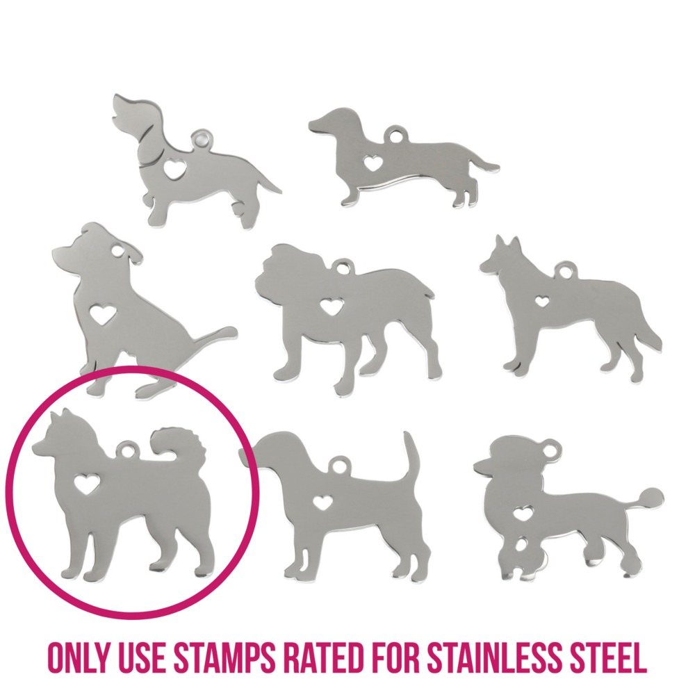 "Metal Stamping Blanks Stainless Steel Husky Dog with Heart Cutout and Top Loop, 27.4mm (1.1"") x 27mm (1.1""), 14g"