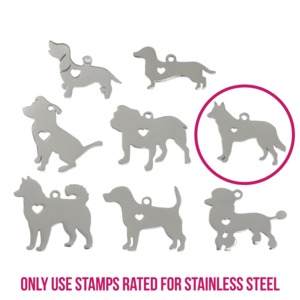 "Metal Stamping Blanks Stainless Steel German Shepherd Dog with Heart Cutout and Top Loop, 23mm (.91"") x 22m (.87""), 14g"