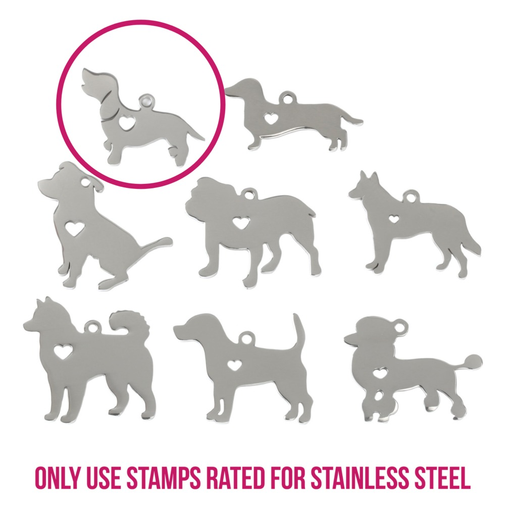 "Metal Stamping Blanks Stainless Steel Beagle Dog with Heart Cutout and Top Loop, 27.5mm (1.1"") x 23.8mm (.94""), 14g"