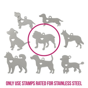 "Metal Stamping Blanks Stainless Steel Bulldog with Heart Cutout and Top Loop, 27.8mm (1.1"") x 21.8mm (.86""), 14g"