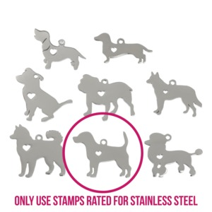 "Metal Stamping Blanks Stainless Steel Labrador Dog with Heart Cutout and Top Loop, 27mm (1.06"") x 24mm (.94""), 14 Gauge"
