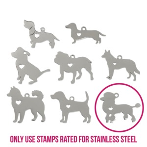 "Metal Stamping Blanks Stainless Steel Poodle Dog with Heart Cutout and Top Loop, 31mm (1.22"") x 23mm (.91""), 14g"