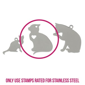 "Metal Stamping Blanks Stainless Steel Cat Sitting with Heart Cutout, 29.5mm (1.1"") x 22mm (.87""), 14g"