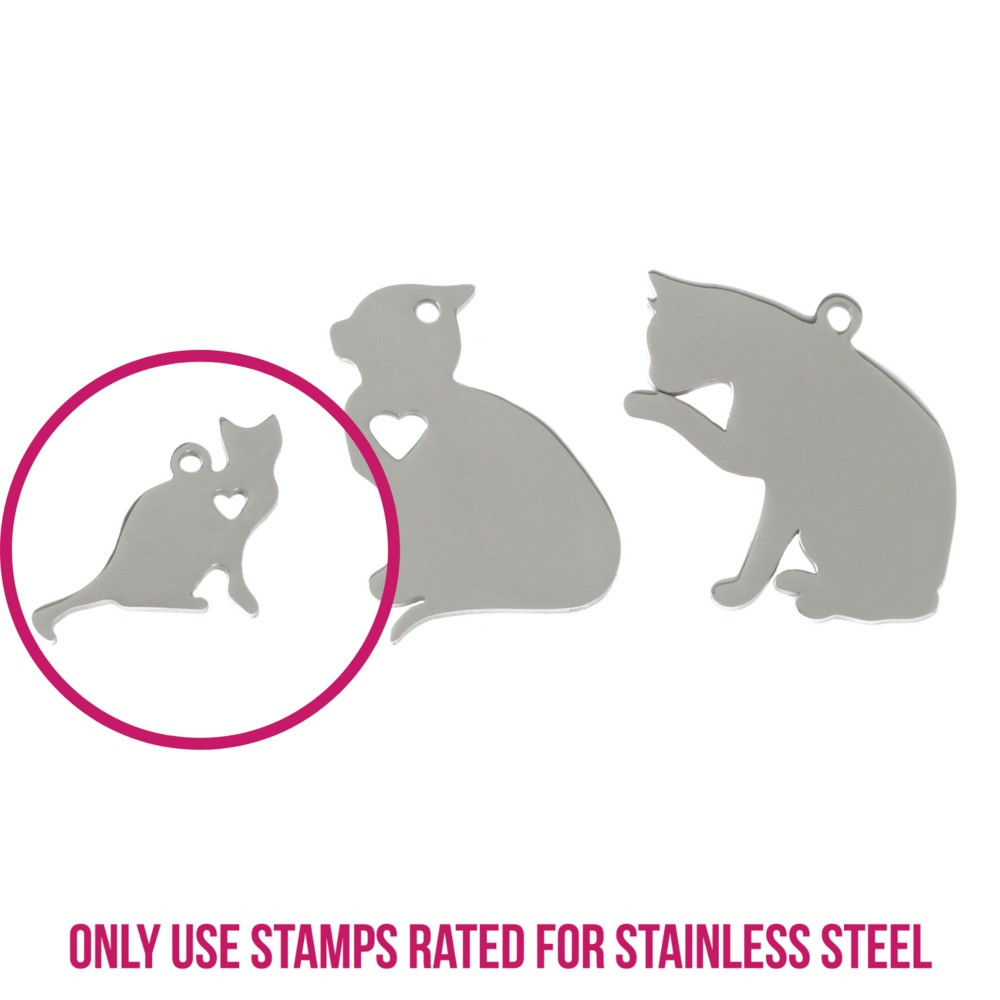 "Metal Stamping Blanks Stainless Steel Small Cat Sitting with Heart Cutout and Top Loop, 21mm (.83"") x 15mm (.59""), 14g"