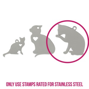 "Metal Stamping Blanks Stainless Steel Cat Licking Paw with Heart Cutout and Top Loop, 28mm (1.1"") x 27mm (1.06""), 14g"