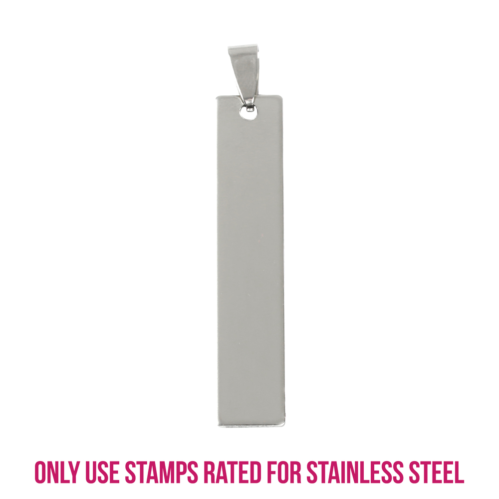"Metal Stamping Blanks Stainless Steel Rectangle Bar with Hole and Bail, 42mm (1.65"") x 10mm (.4""), 14g, Pk of 5"