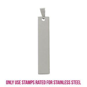 """Metal Stamping Blanks Stainless Steel Rectangle Bar with Hole and Bail, 42mm (1.65"""") x 10mm (.4""""), 14g, Pk of 5"""