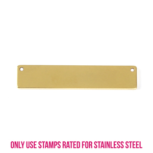 """Metal Stamping Blanks Stainless Steel Gold Plated Rectangle Bar with Holes, 39.8mm (1.5"""") x 8.2mm (.32""""), 16g (NEW GAUGE), Pk of 5"""