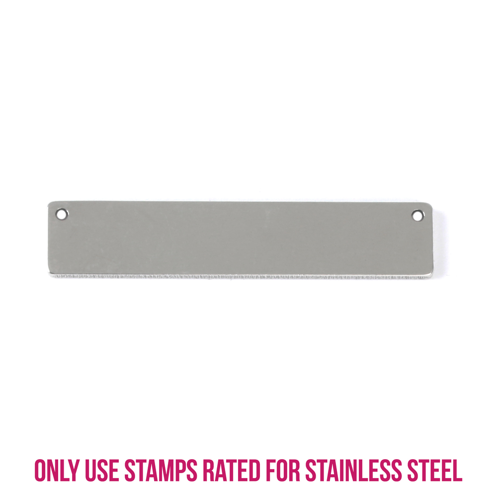 "Metal Stamping Blanks Stainless Steel Rectangle Bar with Holes, 39.8mm (1.5"") x 8.2mm (.32""), Pack of 5"