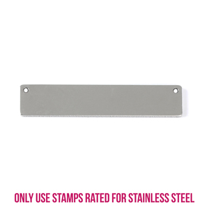 "Metal Stamping Blanks Stainless Steel Rectangle Bar with Holes, 39.8mm (1.5"") x 8.2mm (.32""), 14g, Pk of 5"
