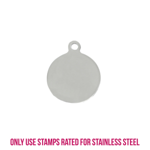 "Metal Stamping Blanks Stainless Steel Circle, Disc, Round with Top Loop, 24.2mm (.95"") x 20mm (.79""), 16g, Pack of 5"