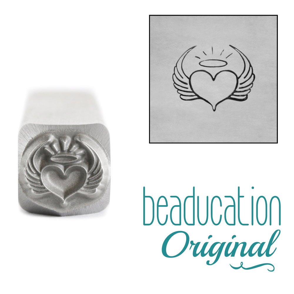 Metal Stamping Tools Heart with Wings and Halo Metal Design Stamp, 8mm - Beaducation Original