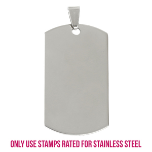 "Metal Stamping Blanks Stainless Steel Rectangle Dog Tag with Hole and Bail, 43mm (1.7"") x 22mm (.87""), 14g, Pack of 5"