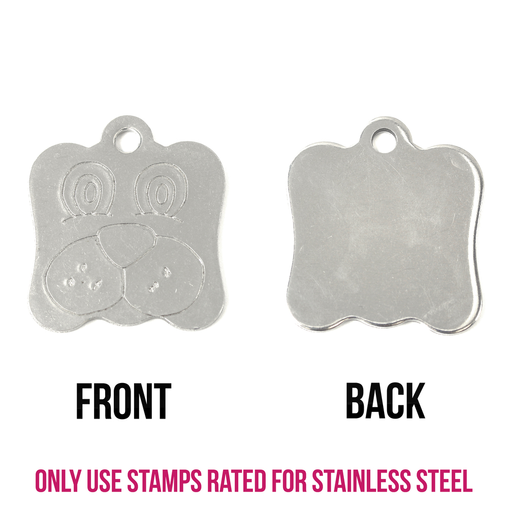 "Metal Stamping Blanks Stainless Steel Dog Face Pet Tag with Hole, 24mm (.94"") x 22mm (.87""), 16g"