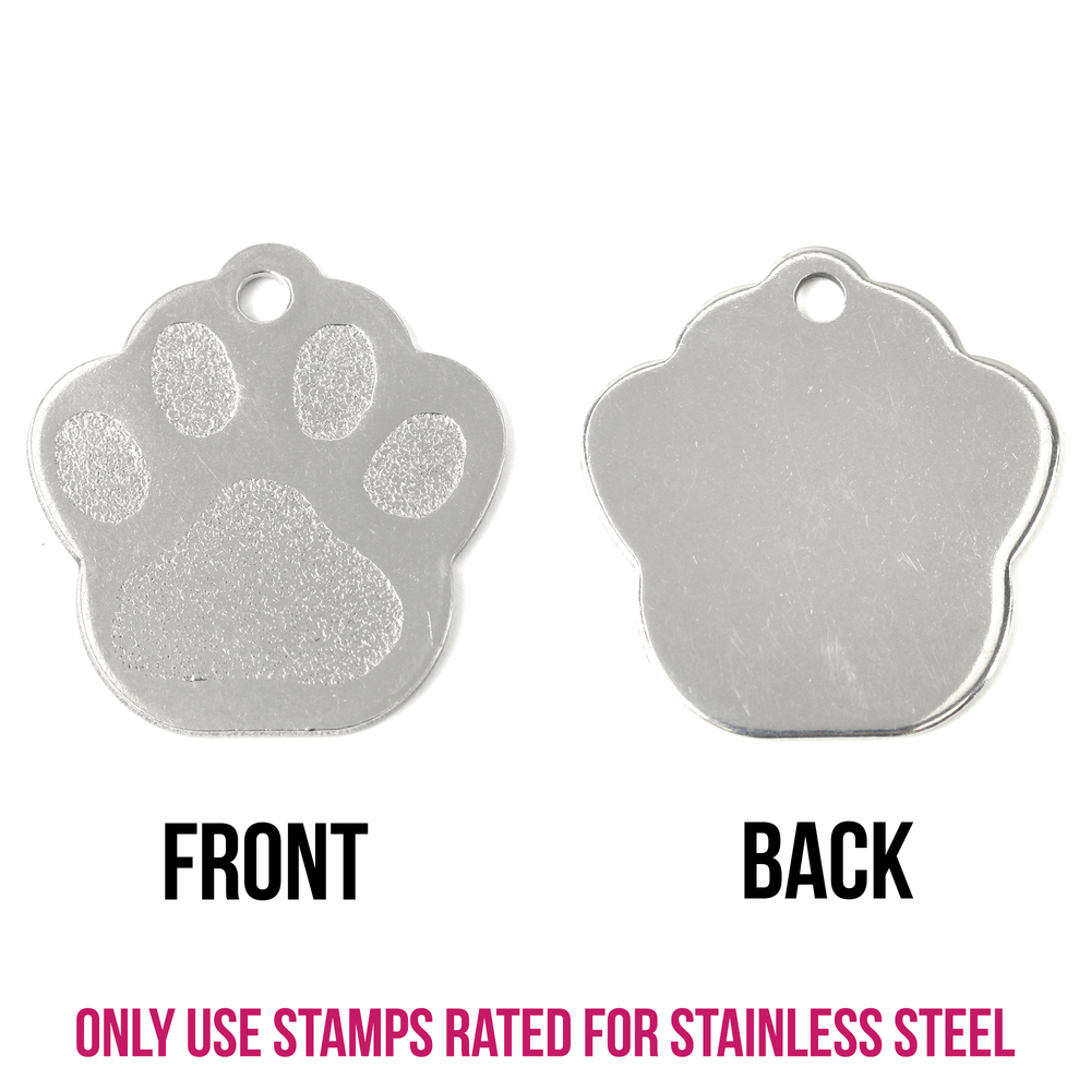 "Metal Stamping Blanks Stainless Steel Paw Print Pet Tag with Hole, 27.8mm (1.09"") x 26.4mm (1.04""), 16g"