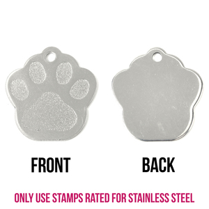 """Metal Stamping Blanks Stainless Steel Paw Print Pet Tag with Hole, 27.8mm (1.09"""") x 26.4mm (1.04""""), 16g"""