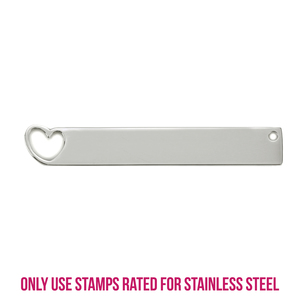 """Metal Stamping Blanks Stainless Steel Bar Rectangle with Heart Cutout, 40mm (1.6"""") x 6.4mm (.25""""), 14g"""