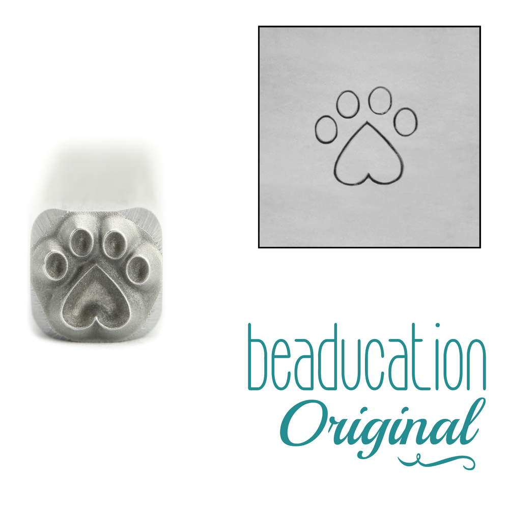 Metal Stamping Tools Paw with Heart Metal Design Stamp, 5mm - Beaducation Original