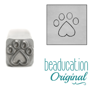 Metal Stamping Tools Paw with Heart Metal Design Stamp, 8mm - Beaducation Original
