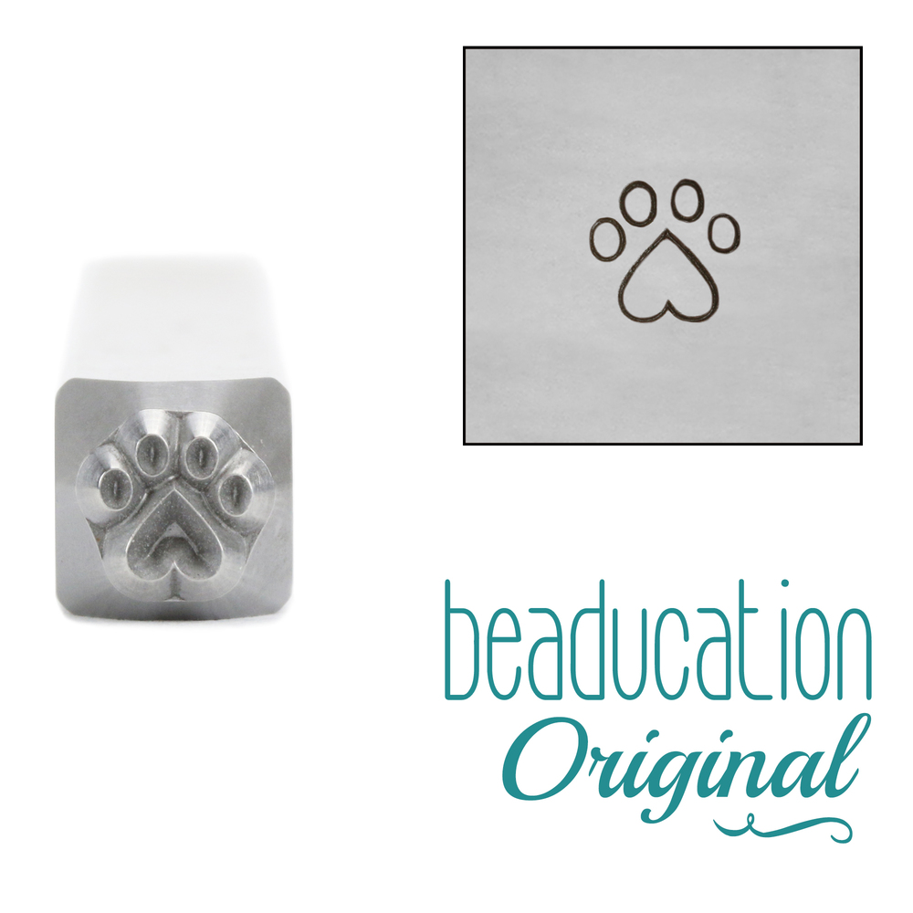 Metal Stamping Tools Paw with Heart Metal Design Stamp, 4.2mm, Beaducation Exact Series by Stamp Yours