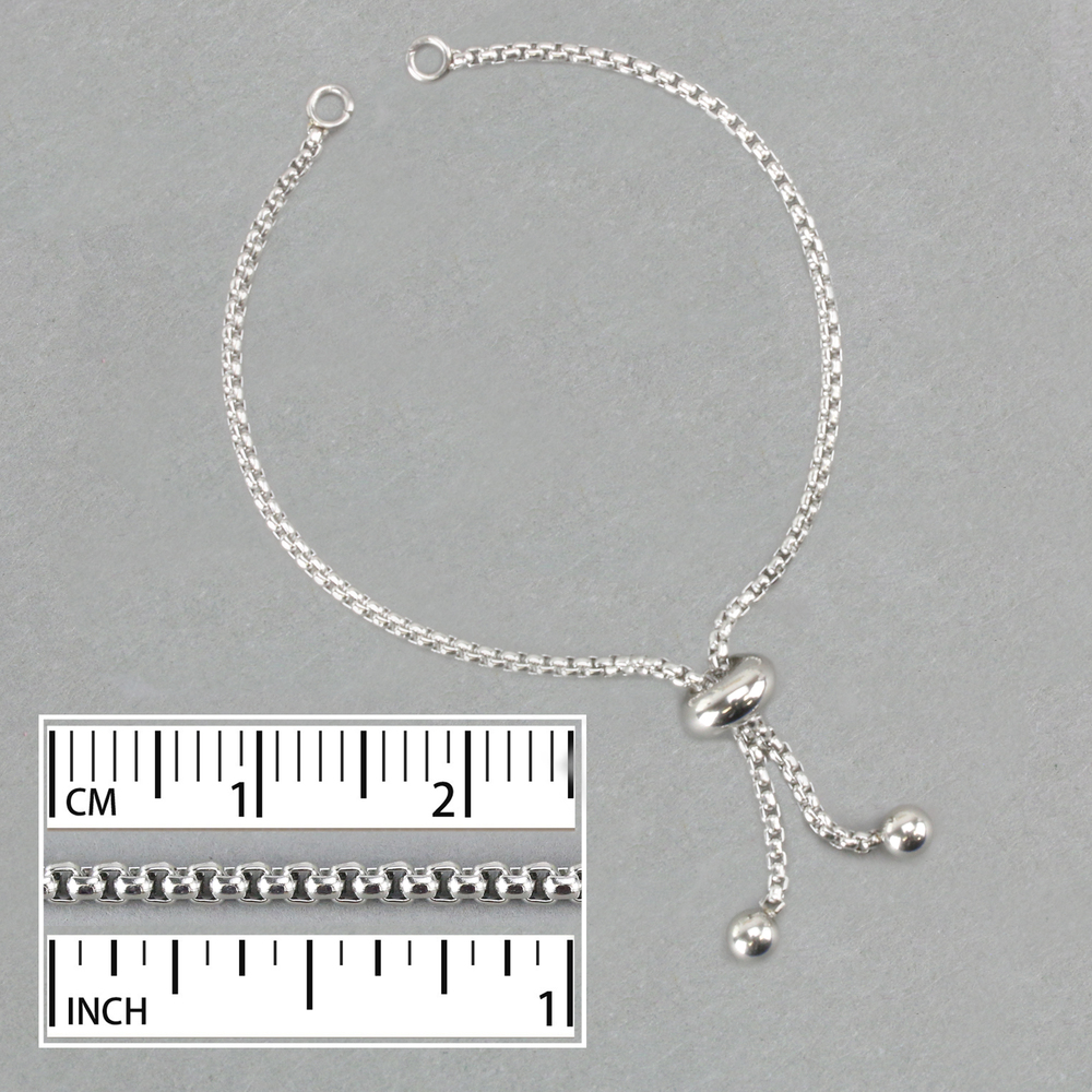 Chain & Clasps Stainless Steel Adjustable 2mm Thick Box Chain Bracelet