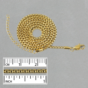 "Chain & Clasps Stainless Steel Gold Plated 2mm Box Chain, 24"" with 2"" Chain Extender"