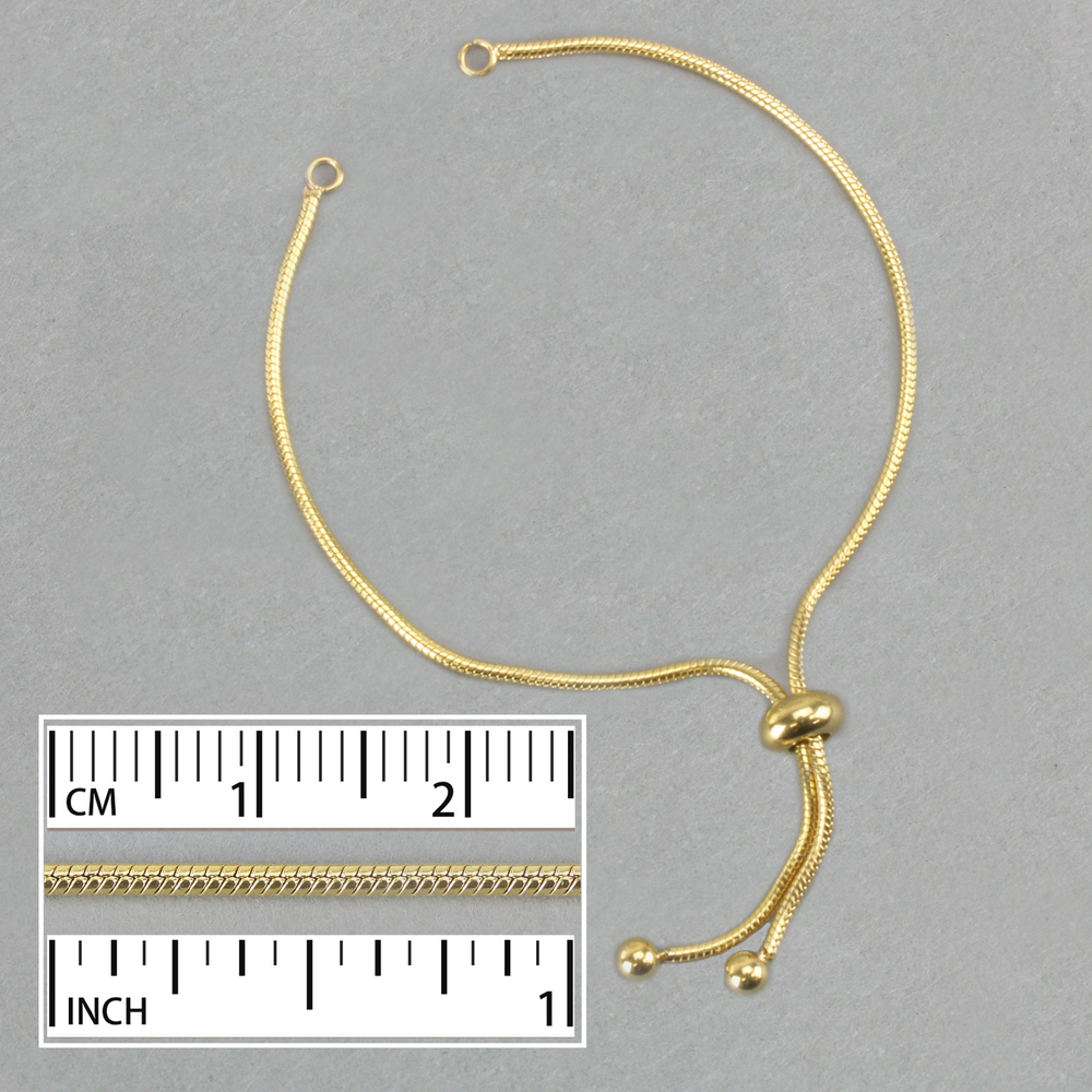 Chain & Clasps Stainless Steel Gold Plated Adjustable / Expandable 2mm Snake Chain Bracelet , with Slider Bead