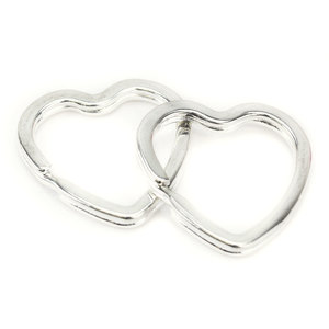 Rivets and Findings  Base Metal 31mm x 30.5mm Heart Split Ring Key Ring - Pack of 5