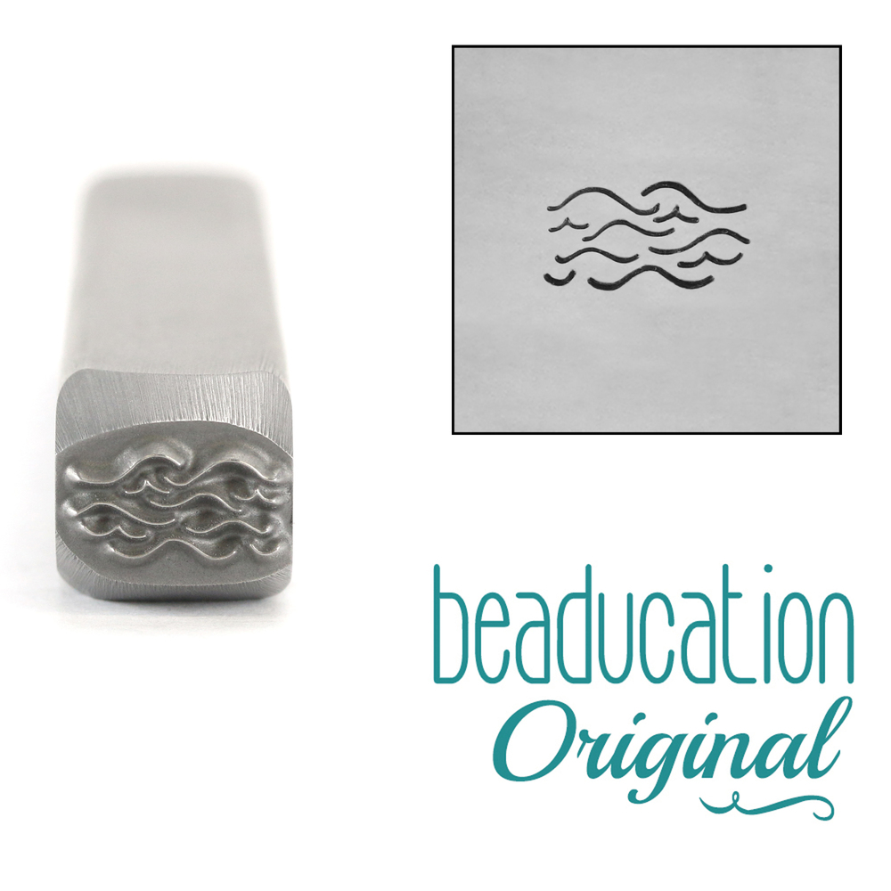 Metal Stamping Tools Simple Waves, Water, Metal Design Stamp, 8mm - Beaducation Original